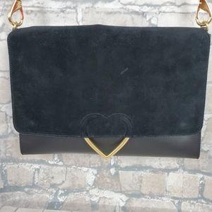 Dear Drew by Drew Barrymore Leather Envelope Satchel Black Gold